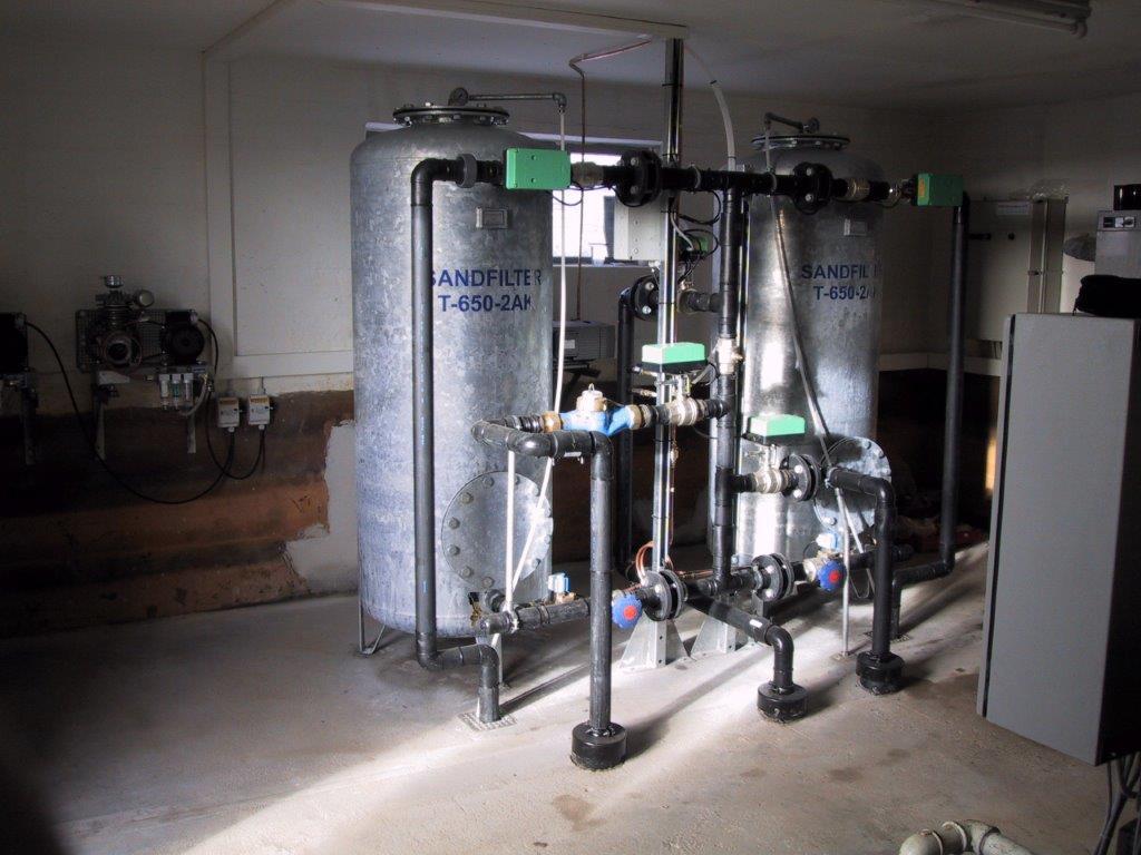 Filteranlæg installeret på et vandværk