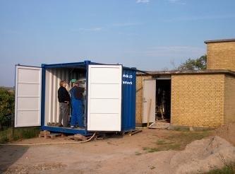 vandværk indbygget i en container. Bruges ved ombygning af vandværker.